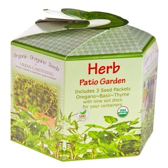 Herb Patio Garden Allowing urban gardeners to reap the benefits of fresh, organic living, this kit makes it easy to grow culinary herbs, right on your patio, balcony or deck! Promising big results in small spaces, the kit includes 3 hearty seed packets (Oregano, Sweet Basil and Winter Thyme) plus 9 seed starting soil discs. Simply start your seed indoors, and transplant outside in your patio containers after seedlings reach 3-4  H. A gift any gourmet cook or gardener will love, the premium seeds are USDA certified organic and GMO-Free. Instructions included. 5  L x 5  W x 5  H.