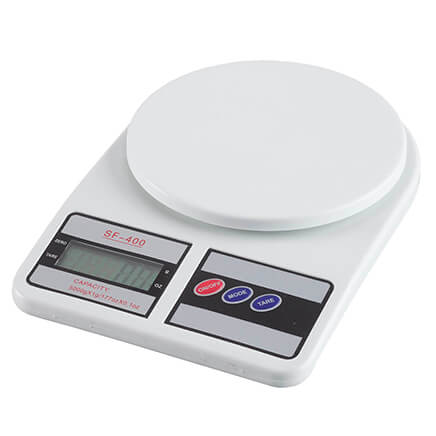 Kitchen Scale Featuring an easy-to-read digital display, this compact kitchen scale makes it simple to measure ingredients and monitor food portions for weight loss or health maintenance. The LCD display indicates measurements in ounces or grams, with an auto-off feature to preserve battery life. Digital scale uses 2 AA batteries (not included). Easy-clean plastic housing. Food scale measures 6 1/4  L x 9  W x 1 1/2  H.