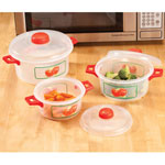 Microwave Pots with Apple Design 6 Piece Set Get more out of your microwave with these charming microwave pots with apple design. Versatile microwave cookware set includes pots in 3 sizes, each with a vented lid to release pressure and stop splatters -- for worry-free cooking and great results. Stacking cooking pots feature a classic apple motif, colorful handles and matching lids. Set includes 3 sizes: 12, 7 and 4 cups. Durable plastic is dishwasher safe.