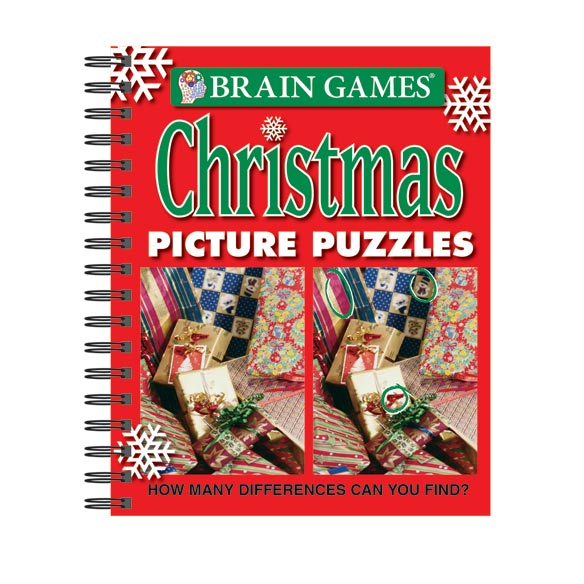 Brain Games TM Christmas Picture Puzzles Book Brain GamesTM Christmas Picture Puzzles is just what puzzlers need to get in the holiday spirit. Celebrate the joy of the Christmas season with images of twinkling lights, snowy landscapes, and Santa Claus and his elves while improving observation skills. There are 4 different skill levels, so the challenge builds as the puzzler's skills become more acute. Spiral binding keeps this Brain GamesTM book flat during use. 192 pages. 9 1/4  L x 8  H when closed.