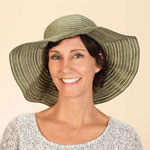 Foldable Hat You'll be stylishly prepared for fun in the sun when you stash this cute, foldable hat in your tote, luggage or weekend bag! The striped packable sun hat features an extra-wide brim and folds down to just 8  x 5  for storage in its own bag. Its coordinating petite straw wristlet features a fashionable flower, strap and zip-close top -- perfect for everything from storing your sunscreen and lip balm at the beach to stashing your phone and credit cards while shopping on vacation. Travel hat made with 60% cotton/40% nylon. Spot clean.