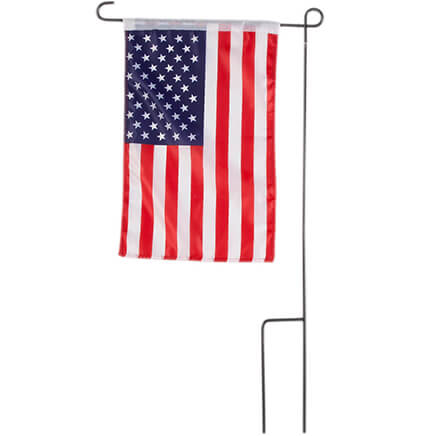 American Flag Garden Flag and Pole Boasting patriotic pride and EASY display, this American Flag garden flag and pole makes the ultimate garden decor! More than mere decoration, our durable, decorative flag waves bold stars and stripes in red, white and blue--proclaiming your love for America in brilliant style. Perfect for patriotic holidays or any day, the American flag banner is crafted of machine washable polyester (17 1/2  L x 11  W). The sturdy iron flagpole stakes in the ground for easy display in lawn or garden (16 1/2  W x 30 1/2  H).
