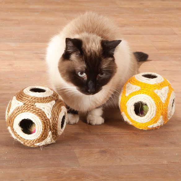 Hide and Seek Cat Toys, Set of 2 Enticing your cat to swat, pounce and play, these Hide and Seek cat toys feature rattling toys inside to keep her interested--while sisal fabric outside helps groom claws. As the plastic cat ball toys roll, feathered toys inside peek out through one of 6 openings, inspiring your cat's instincts to hunt, chase and attack. The rattling, rolling  hide and seek  fun provides hours of healthy exercise and a chance for kitty and you to bond through interactive play. Set of 2 pet toys. Each, 4 1/2  dia.