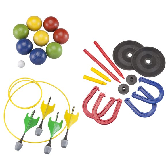 Yard Games Set of 3 This set of 3 yard games has everything you need to guarantee outdoor fun at any barbecue, cookout or camping trip. Bocce ball set includes 8 bocce balls in 4 different colors and 1 pallino (target ball). Plastic lawn darts kit feature rounded rubber tips for safe play; includes 4 darts, 2 target rings and instructions. Horseshoe set boasts high-end rubber construction for solid weight and long-lasting durability. Includes 2 sets of 2 horseshoes, 2 rubber mats with stake (for indoor use), and two dig-in stakes for more authentic outdoor use.
