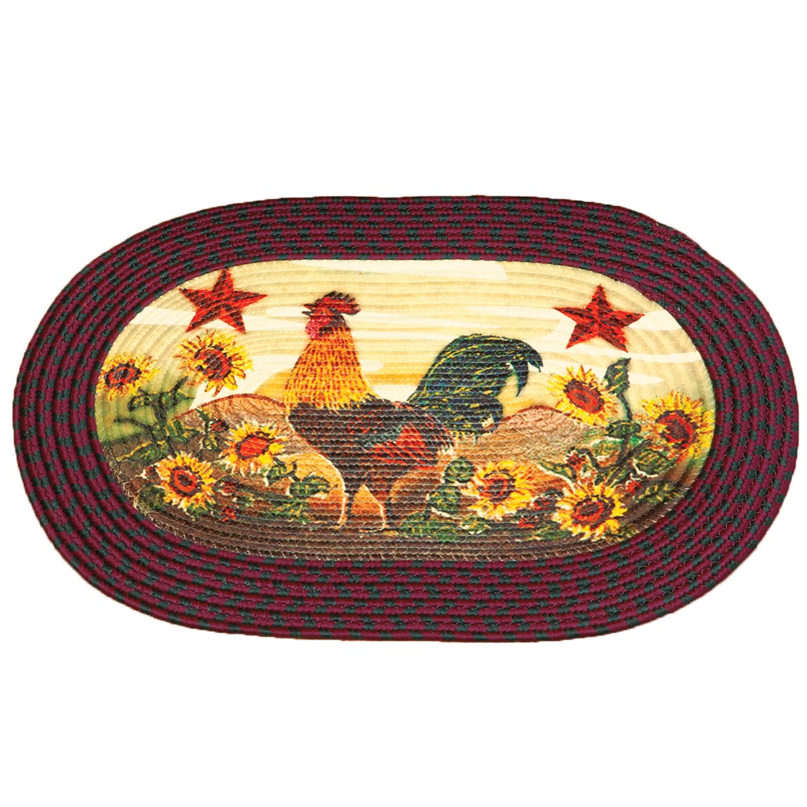 Rooster In Sunflowers Braided Rug By OakRidge