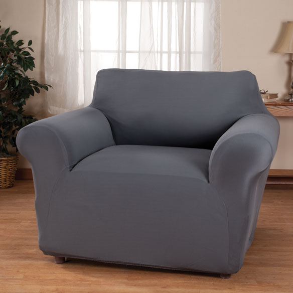 Corduroy Chair Stretch Furniture Cover Gray Corduroy chair stretch furniture cover gives chairs an instant lift with the rich look and feel of corduroy. One-piece chair cover adds soft, breathable comfort to your chair while protecting against spills, stains and wear. Stretch design provides a smooth look that resists wrinkles and fits most chairs up to 43  W. Care is easy -- simply toss in the wash when it's time to freshen. Choose from 4 colors to complement any decor: burgundy, chocolate, ivory or gray. Furniture protector made with 97% polyester/3% spandex. Machine wash cold, gentle; tumble dry low. Use only non-chlorine bleach if needed. Do not iron. Imported.