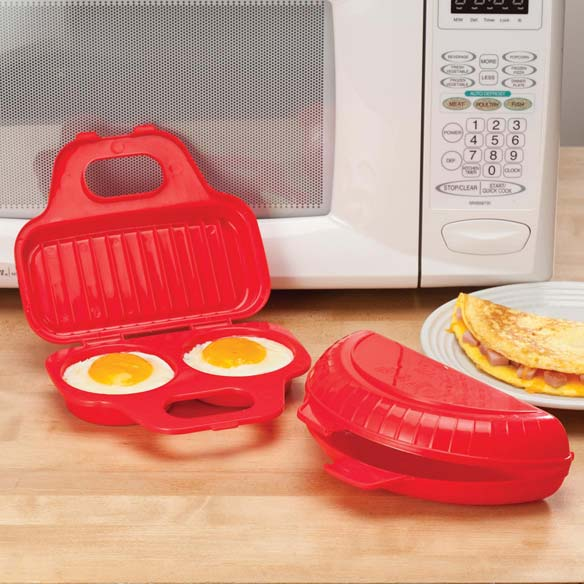 Microwave Egg Poacher & Omelet Set Make quick, healthy breakfasts in your microwave with this 2-pc. microwavable egg poacher and omelet maker set. Designed in bright red plastic, each snaps closed securely to contain splatters and help retain heat and moisture during and after cooking. The egg cooker's slotted lid can also be used to cook sausages, bacon or hash browns. Both pieces are dishwasher safe. Egg poacher: 7 1/2  L x 3 1/2  W (makes 3  egg rounds). Microwave omelet maker: 4  L x 2  W.