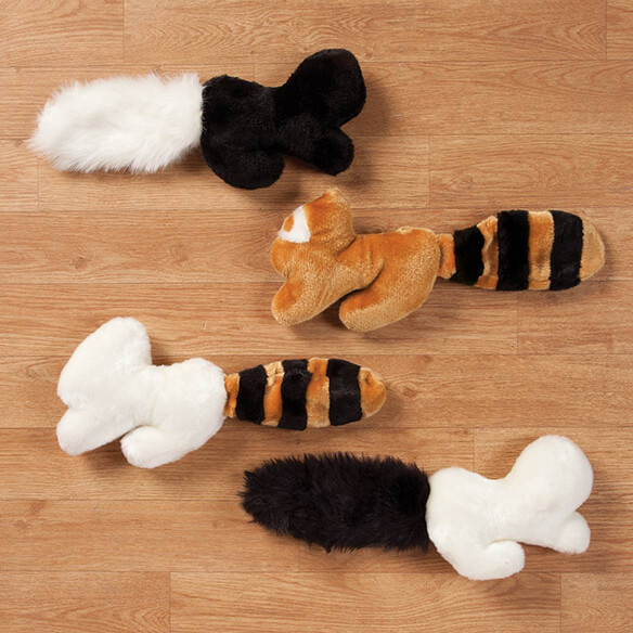 Fuzzy Animal Toys, Set of 4 These soft, fuzzy animal toys feature long, floppy bodies--making them easy to grab, hold, and carry by most any size playful dog! For added fun, each adorable critter has one squeaker in the body and another in the tail ... enticing your dog to play fetch with you, carry one around in his mouth, or simply cuddle up and snuggle with a soft naptime buddy. Designed with your pet's safety in mind, the polyester, plush dog toys are made without eyes, helping prevent a potential choking hazard. Set includes 4 assorted styles. Each puppy toy measures approx. 15  L.