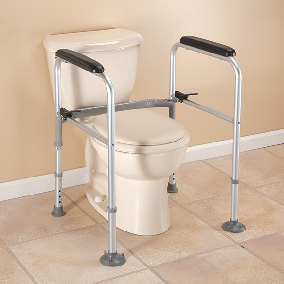 Foldable Toilet Support XL Add needed support to the bathroom without making permanent modifications. Sturdy steel frame is easily height-adjustable (31  - 35 ) and supports up to 300 lbs. 21  L x 20  W.