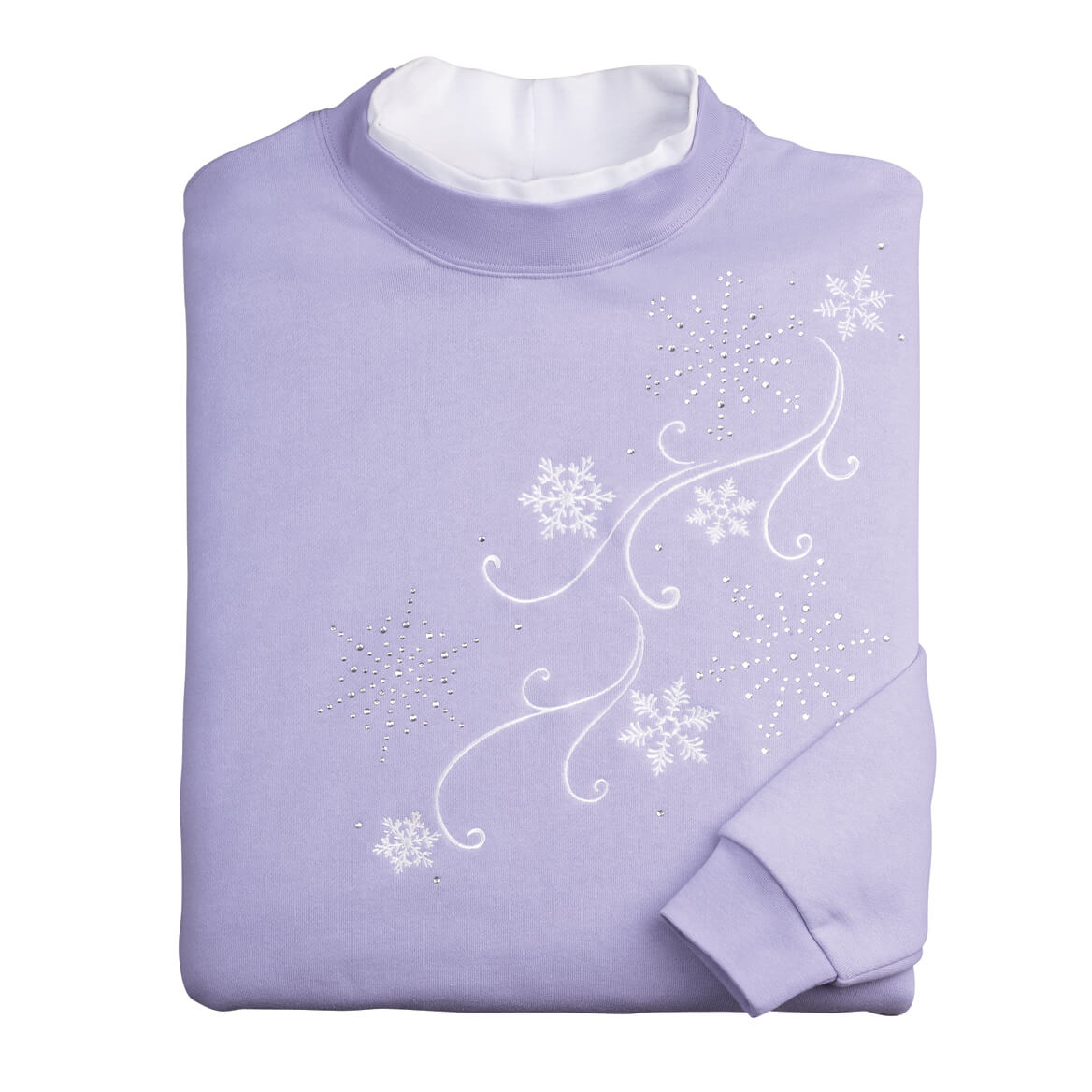 Embroidered Cascading Snowflakes Sweatshirt by Sawyer Creek-359981