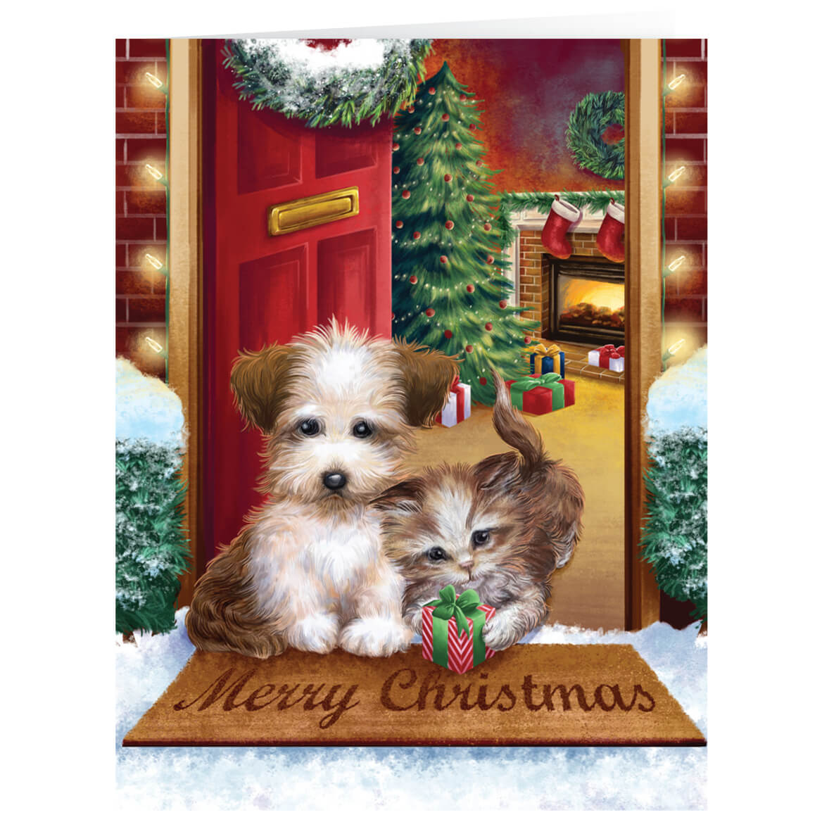 Personalized Puppy & Kitten Christmas Card Set of 20 - Walter Drake