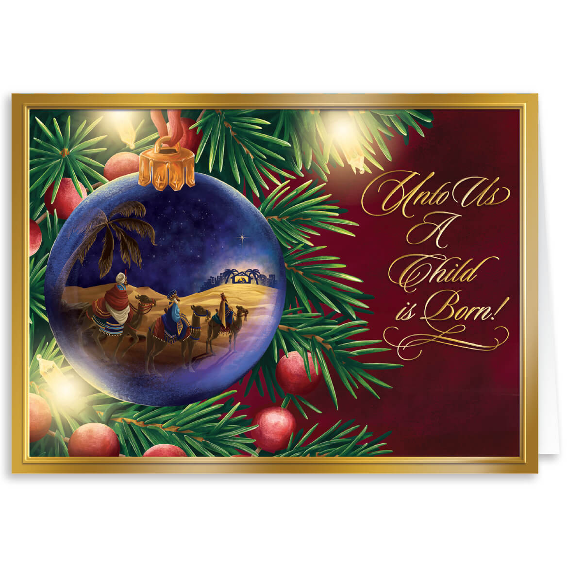 Personalized Nativity Christmas Card Set of 20 - Walter Drake