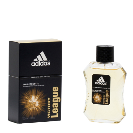 Adidas Victory League for Men EDT - 3.4oz Victory League, introduced in 2006 is a juicy, breezy oriental that is joyfully masculine. It is fresh and crisp, perfect for daytime and casual romantic wear. It opens with a fresh cut grassy scent that is mixed with basil and bergamot and blended with gritty pears and cinnamon. The Lavender spice enhances it's freshness and it settles down with musky and vanilla woodiness. Subtly sensual, classy and a happy scent, it is a league in every sense. 3.4 fl. oz. An EDT spray. No express shipping. No shipping to PO boxes.