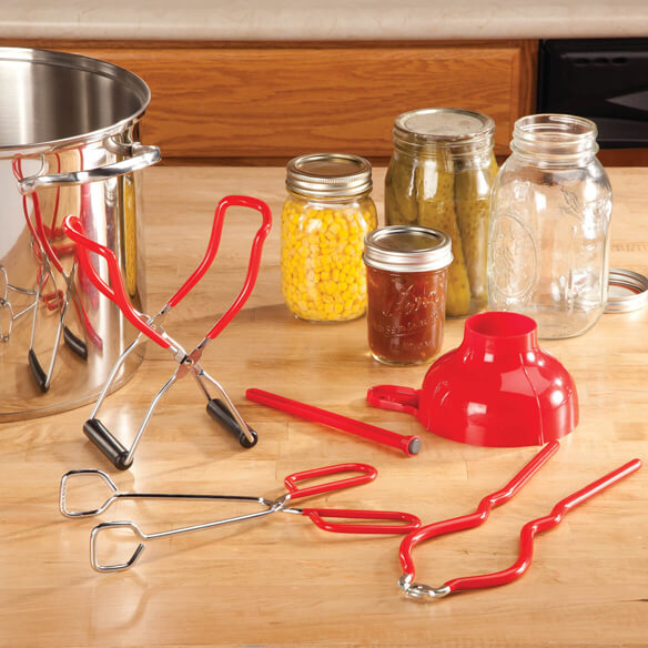 Home Canning 5 pc Kit All the tools you need to start canning! Colorful home canning set includes a jar lifter (10 1/2  L x 3  W), tongs (10  L x 3  W), funnel (4 7/8  dia. x 3  H), magnetic lid lifter (6 3/4  L) and jar wrench (8  L x 3 1/4  W). All pieces of canning equipment are stainless steel with red vinyl handles for a solid, comfortable grip. Dishwasher safe. This canning kit makes a great gift for anyone who wants to start preserving favorite foods!
