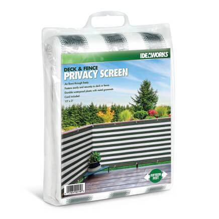 Deck & Fence Privacy Screen Offering instant privacy for patio, balcony or deck, this stylish striped deck & fence privacy screen blocks revealing views--so you can relax outdoors without awkward exposure to neighbors, the street or the sidewalk. The breathable woven fence screening secures easily to fence or deck with included cord, or weaves between deck posts or railings, and can be placed strategically to create custom privacy without impeding light or airflow. Shielding you with a full 3 feet of height, the 15-foot long garden screening is crafted of durable waterproof polyester netting with reinforced seams and metal grommets. Green/white.