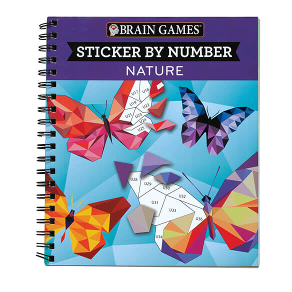 Brain Games Sticker by Number Nature Book Keep your brain active and engaged while creating unique nature-themed artwork in this fun Brain GamesTM  Nature  Sticker By Number Book! Just like a color or paint-by-number activity, each image is divided into numbered blank spaces, and each space's number corresponds to a sticker located in the back of the book. Simply search for and find the sticker, peel it off and place it in the correct blank space to create a fantastic, full-colored image. Spiral binding helps keep pages open while you work, making this book easy to use. Sticker book includes 28 nature images with answer key. Spiral-bound softcover, 104 pages. 8 1/2  L x 10  W.