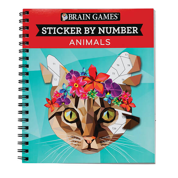 Brain Games Sticker by Number Animals Book Give your brain a fun, age-defying workout while creating breathtaking animal-themed artwork in this Brain GamesTM  Animals  Sticker By Number Book! Designed like color or paint-by-number activities, each image is divided into numbered blank spaces, and each space's number corresponds to a sticker located in the back of the book. Just search for and find the sticker, peel it off and place it in the right blank space to create an amazing, full-colored image. Spiral binding helps keep pages open while you enjoy the fun, making this sticker book easy to use. Includes 28 animal images along with answer key. Spiral-bound softcover, 104 pages. 8 1/2  L x 10  W.