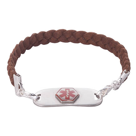Personalized Medical ID Braided Bracelet Personalized medical ID braided bracelet is a stylish way to display a medical ID tag. Perfect for men or women, this 10  L braided faux leather band with silvertone lobster clasp attaches to each side of an engraved medical ID tag. Care providers see at a glance the medical alert symbol on one side and your emergency contact, allergies or health condition on the other. Specify personalizedonalization up to 2 lines, 15 letters/spaces each line. Wipe medical alert bracelet and tag clean with dry cloth.