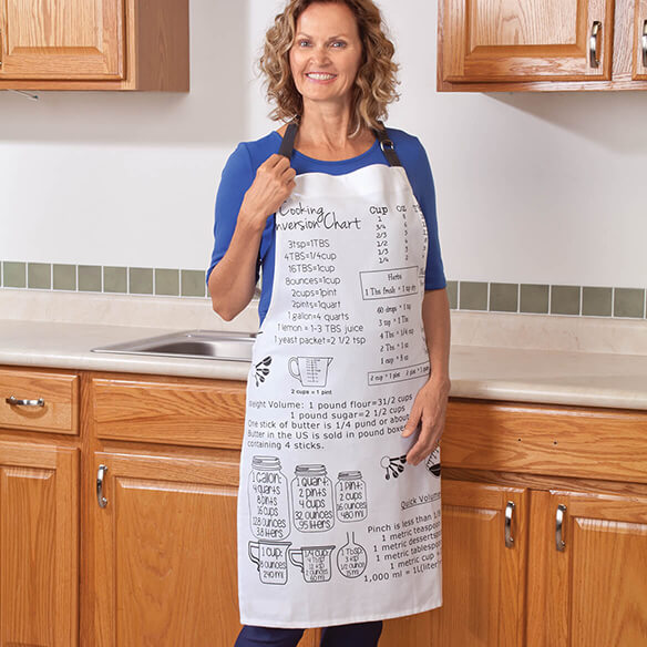 Kitchen Measurements Apron Like a wearable  cheat sheet  every cook needs, this Kitchen Measurements apron's cute graphics provide common recipe conversions--including weights and measurements, down to a pinch! Helping you cook faster and smarter (without googling on your smart phone), the kitchen apron is a fun gift for bakers and chefs of all levels. Designed in heavy canvas, the 100% cotton cooking apron coordinates with matching oven mitt & potholder set (sold separately). Machine wash. Imported.