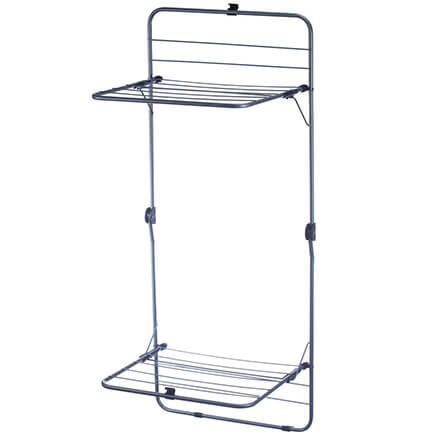 2-Tier Over the Door Drying Rack Save energy and keep clothing looking newer longer without taking up floor space! This 2-tier over-the-door drying rack fits over a door and features 16 rods for hanging towels, sweaters, delicates and more. Durable steel design installs instantly on any standard door, no tools required, and the easy snap-to-lock feature secures rack safely in place. Perfect for bathrooms, laundry rooms and more. Clothes drying rack measures 50  x 20  x 16  when opened. Folds in half for easy storage. Fits doors up to 2  thick.