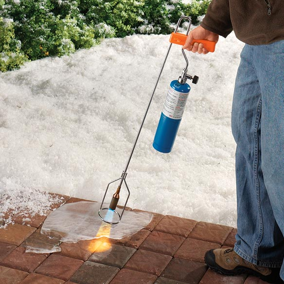 Garden- Sidewalk Torch Quickly melting ice or clearing away weeds, this lightweight, long-reach garden/sidewalk torch handles tough yardwork year round. It melts icy areas on outdoor steps or sidewalks, saving you from chipping or scraping, and it also kills weeds, right down to the root and aids in tree stump removal. For added safety, the its adjustable valve controls intensity of flame. A must for any homeowner, the ice torch works with a standard propane cylinder (not included). Nickel-plated steel, brass. 32  L.