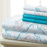 Hotel 5th Ave. 90GSM 4pc Microfiber Sheets, Turquoise Medallion, Twin