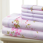 Hotel 5th Ave. 90GSM 6pc Microfiber Sheets, Pink Lavender Floral, Queen