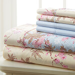 Hotel 5th Ave. 90GSM 4pc Microfiber Sheets, Blue Floral, King