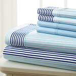 Hotel 5th Ave. 90GSM 6pc Microfiber Sheets, Blue City Stripe, Queen