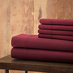 Hotel 5th Ave. 90GSM 6pc Microfiber Sheets, Maroon, Queen