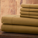 Hotel 5th Ave Solid Color Microfiber Sheet Set, Gold, King