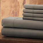 Hotel 5th Ave Solid Color Microfiber Sheet Set, Gray, King