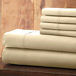Hotel 5th Ave Solid Color Microfiber Sheet Set, Ivory, Queen