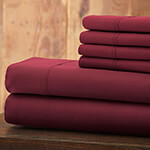 Hotel 5th Ave Solid Color Microfiber Sheet Set, Maroon, King