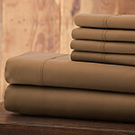 Hotel 5th Ave Solid Color Microfiber Sheet Set, Taupe, Full