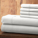 Hotel 5th Ave Solid Color Microfiber Sheet Set, White, King