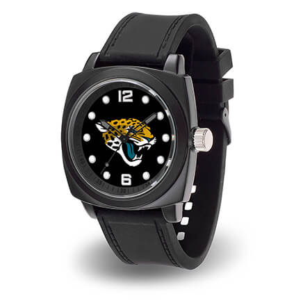 Mens NFL Sparo Prompt Watch Stay on top of your game with this spirited Men's NFL Sparo Prompt Watch. It's rugged design is the perfect canvas for your favorite team logo. High-quality features include precision quartz movement, black metal case with stainless back, scratch-resistant mineral crystal lens, and adjustable comfort strap. Makes a great gift for any football fan! Specify team. Case measures approx. 2 1/4  dia.; 10  L with strap. Limited lifetime warranty.