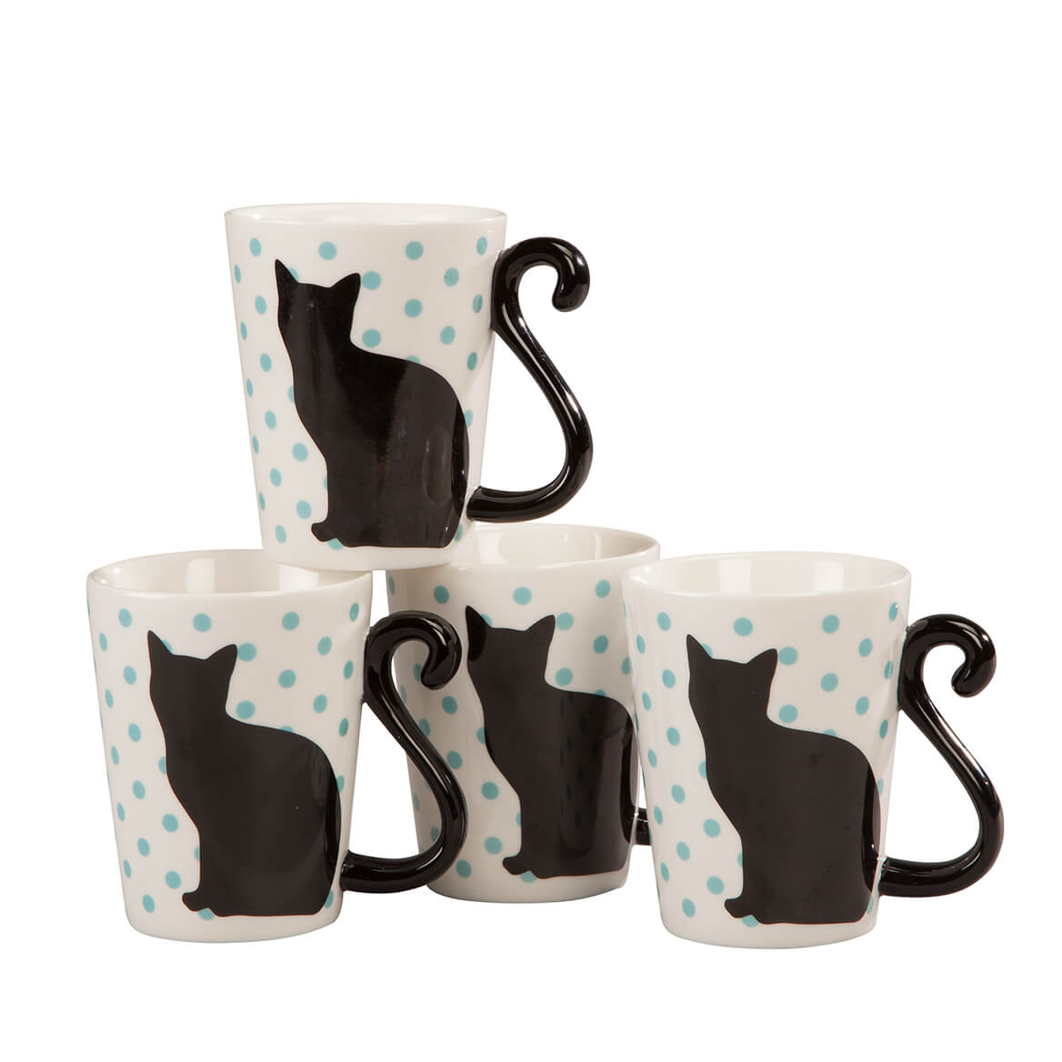 Cat Tail Mugs by Home Style Kitchen, Set of 4-363393