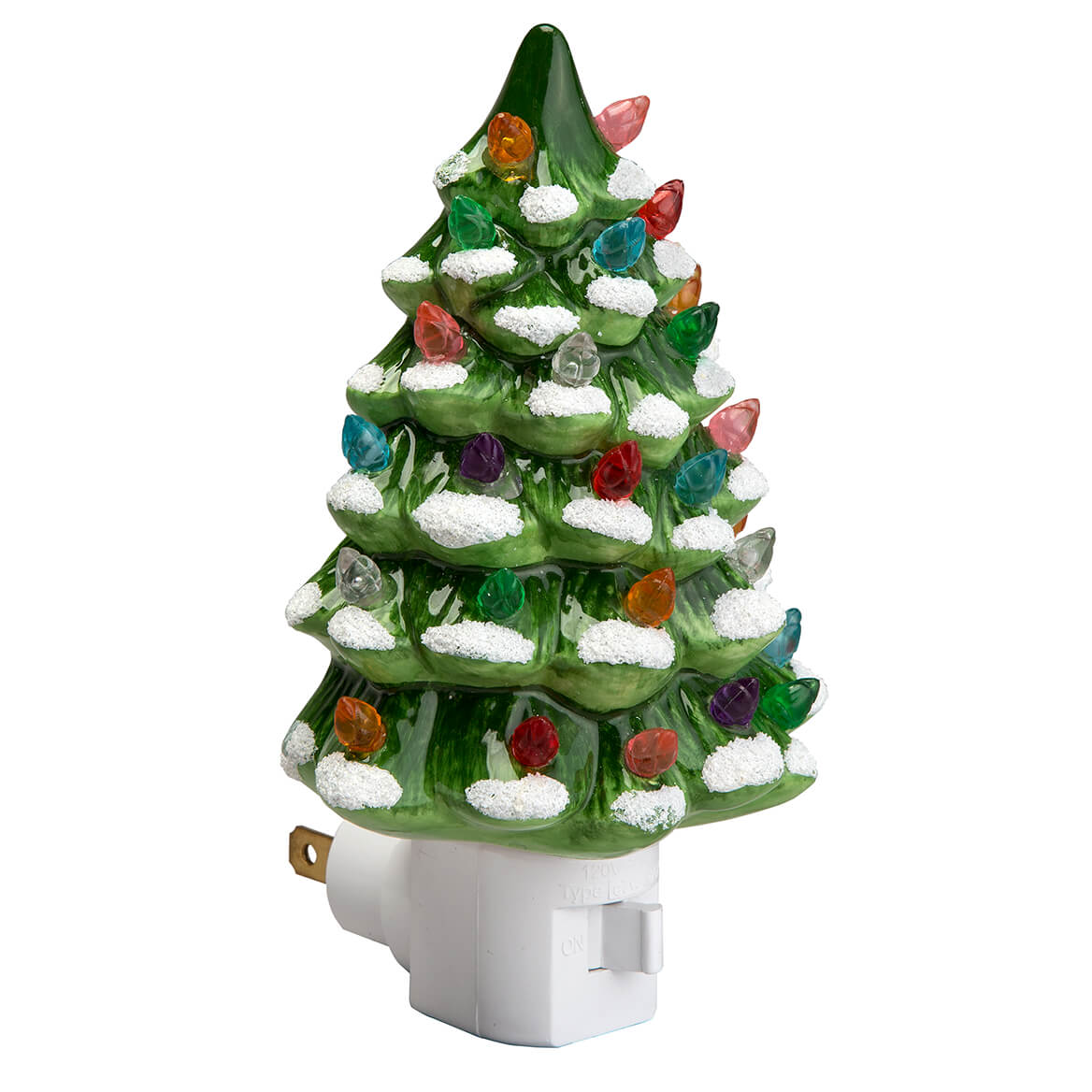 Ceramic Christmas Tree With Lights.Green Snow Capped Ceramic Tree Night Light