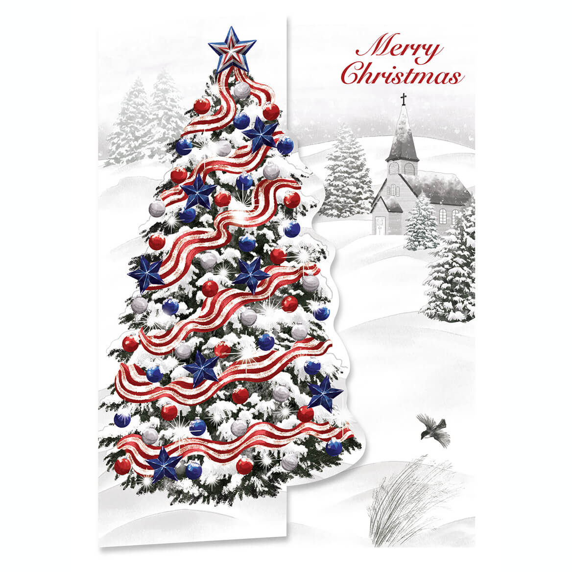 Patriotic Christmas.Patriotic Tree Christmas Card Set Of 20