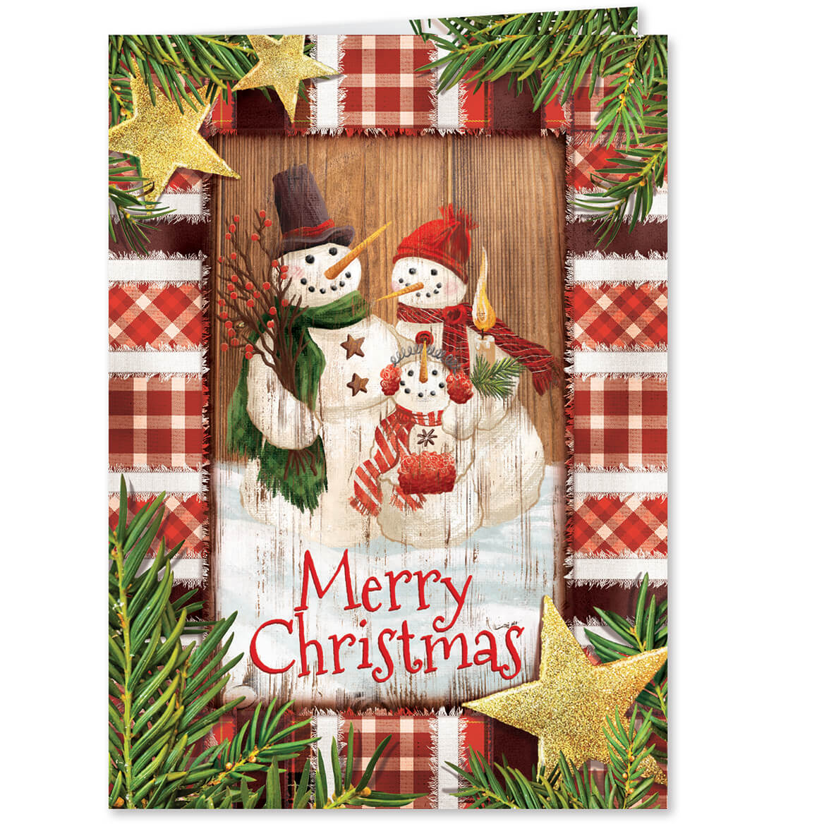 Calico Snowman - Personalized Christmas Cards - Walter Drake