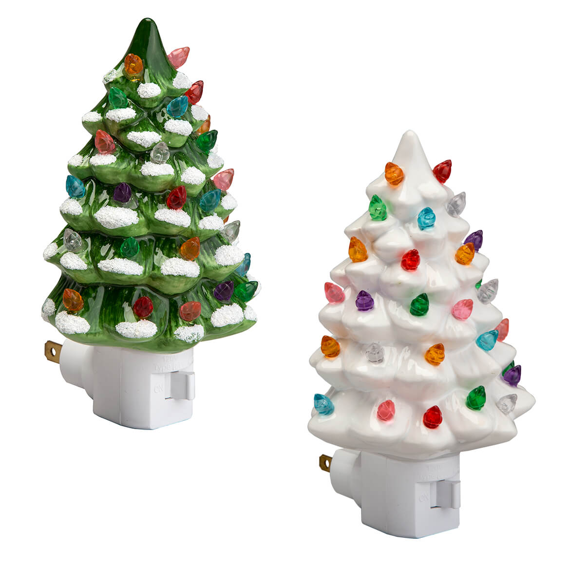 Ceramic Christmas Tree With Lights.Green And White Ceramic Tree Night Lights Set Of 2