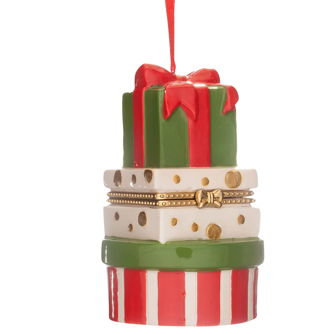 Stacked Presents Ornament Trinket Box-364155
