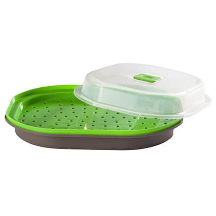 Prep Solutions Microwave Steamer Busy lifestyles and healthy eating can co-exist with the right tools. For quick, healthy cooking, turn to this timesaving Prep Solutions Microwave Steamer. Spacious enough to microwave protein and veggies together, the 2-piece steamer tray cooks to perfection as excess liquid collects in the bottom. The clear lid with slide-adjust vent protects your microwave from food splatters. Dishwasher-safe, BPA-free plastic.