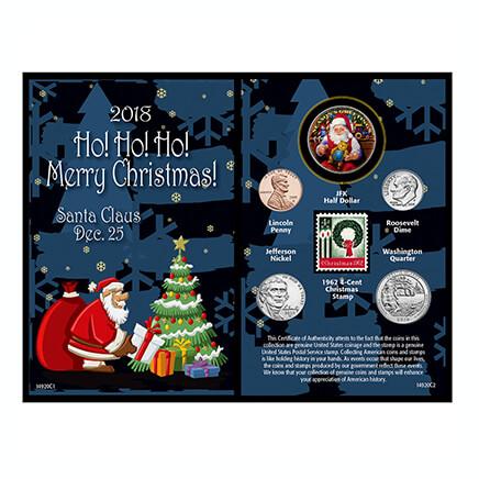 2018 santa greeting coin and stamp card 364307