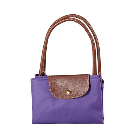 Purple Foldable Tote Fashionable Purple Foldable Tote totes your stuff when you need it, folds down to nearly nothing when you don't. Keep it in your car or pack it for your next vacation, and you'll always have a reusable foldable bag on hand. Sturdy lined tote features a snap closure and double 7 drop leather handles for a roomy, comfortable grip. Simply fold and snap closed when not in use. 19  x 12 1/2  x 7 1/2  unfolded. Durable polyurethane. Wipe with damp cloth.