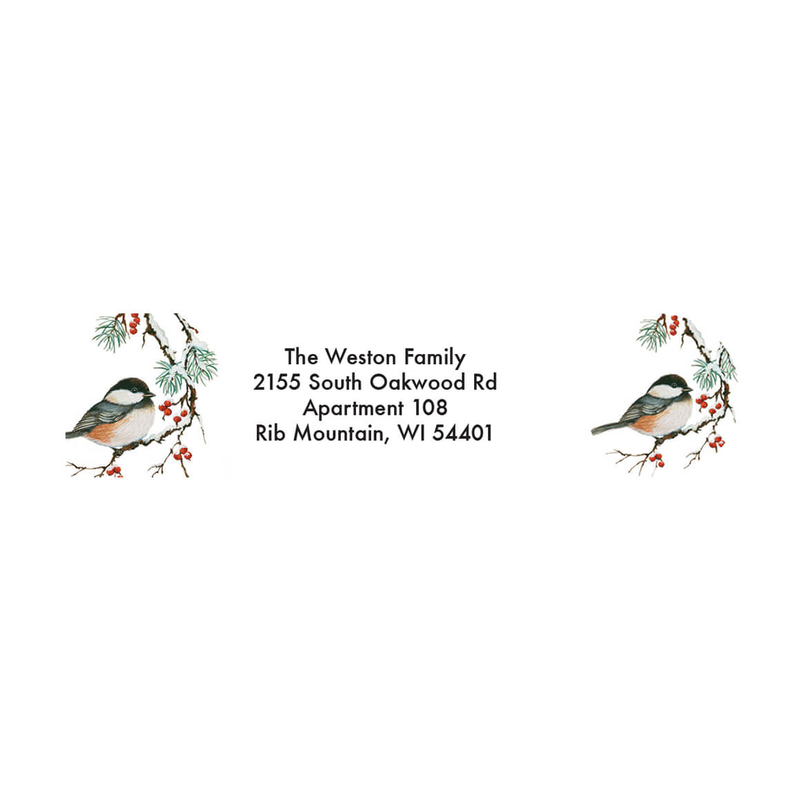 Personalized Christmas Chickadee Address Labels & Seal 20-364788