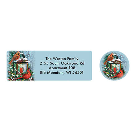 Personalized Cardinals Greeting Address Labels & Seals 20 The charming cardinal couple featured in Personalized Cardinals Greeting Address Labels & Seals will put the finishing touch on your holiday postage. We'll print your name and address on self-stick labels. We'll print your name and address on self-stick return labels. Specify name/address; limit 4 lines, 25 letters/spaces. Labels: 2 1/2  long x 1  wide. 20 holiday address labels and seals per set.