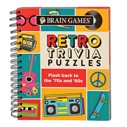 Brain Games Retro Trivia Flash back to the '70s and '80s as you revisit the eras of bellbottoms, disco and neon--straining your brain to recall the details! Brimming with trivia quizzes from favorite TV and movies, sports and more, Brain GamesTM Retro Trivia Puzzles has something fun for everyone, including younger folks who've only seen the decades in reruns. Whether or not you remember the color of Pac-Man, who almost starred in Growing Pains, who set Olympic records, and who shot J.R., the retro trivia questions not only keep your mind sharp ... they're always fun! Spiral-bound softcover, 192 pages with answer key. 9  L x 7  W.