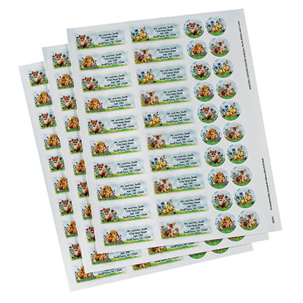 Personalized Baby Animals Labels & Seals 60 The sweet baby animals on these labels and seals are surrounded by springtime flowers, adding a bright touch of spring to everything you mail. Self-stick labels include your name and address in black (type and style shown). Specify name; limit 4 lines, 25 letters and spaces per line. Labels: 2 3/8  long x 3/4  wide. Matching seals: 7/8  dia. Includes 60 Labels and Seals each. Labels and Seals are provided on sheets.